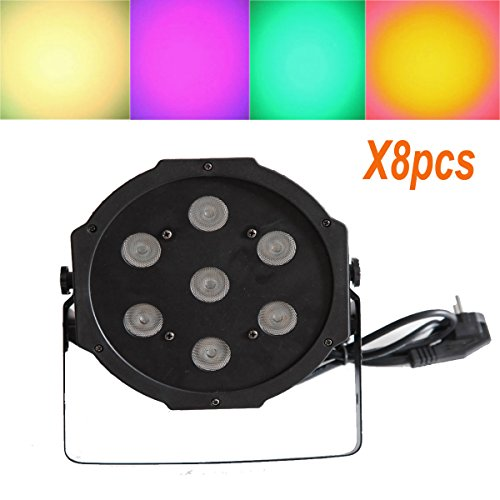 Yiscor Led Par Stage Light Lighting 7Leds 70W Rgbw 4In1 Dmx512 For Dj Disco Club Home Garden Xmas Christmas Birthday Show Party Effect (Pack Of 8)