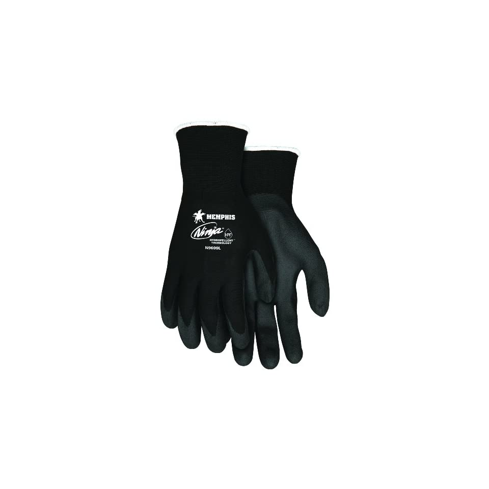 MCR Safety N9699XL Ninja HPT Nylon 15 Gauge Gloves with Dark Gray PVC Foam Sponge Coating, Black, X Large