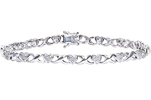 Naava 0.25 ct I Diamond Pave Setting Link Bracelet in 9 ct White Gold