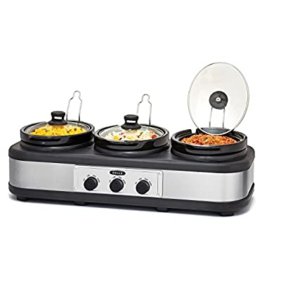 Bella triple Slow Cooker And Server With Lid Rests And Spoons 2.5 Qt Black/Stainless Steel from Bella