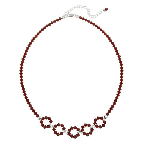 Sterling Silver and Red Swarovski Crystallized Elements 5 Open Circle Frontal Necklace, 16+3