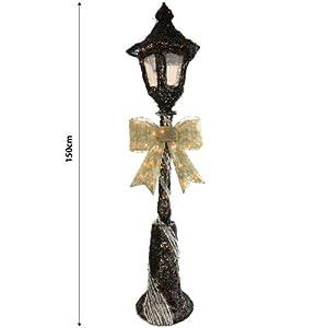 Festive black sliver sparkly rattan 150cm lamp post for 59 victorian lighted black lamp post christmas decoration