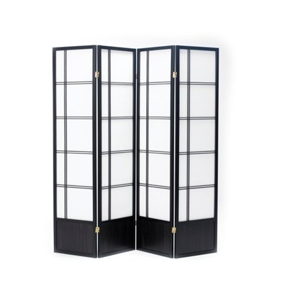 Oriental Fuji Screen Room Divider in Black