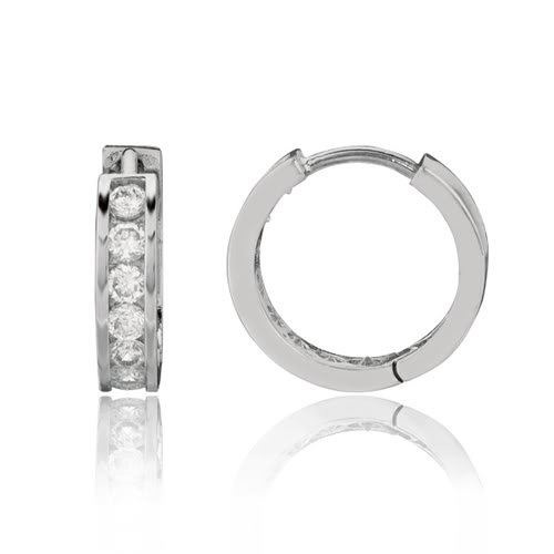 Sterling Silver CZ Channel Set Round Huggie Earrings (14 x 14 mm)