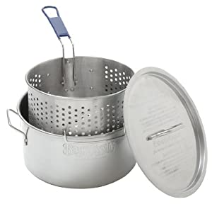 Bayou Classic 1150, 14-Qt. Stainless Deep Fryer, Perforated Basket with Cool Touch Handle by Bayou Classic