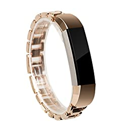 For Fitbit Alta Band, Wearlizer Smart Watch Metal Wristband Stainless Steel Replacement Strap for Fitbit Alta - Rose Gold