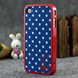 LE Blue and White Polka Dot Pattern Hard Case with Red Trim and Anchor Design for Apple Iphone 4s / 4 (At&t, Verizon, Sprint)