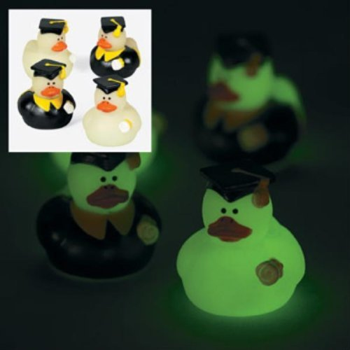 2 Dozen (24) Mini Glow-in-the-Dark Graduation Rubber Ducky Party Favors