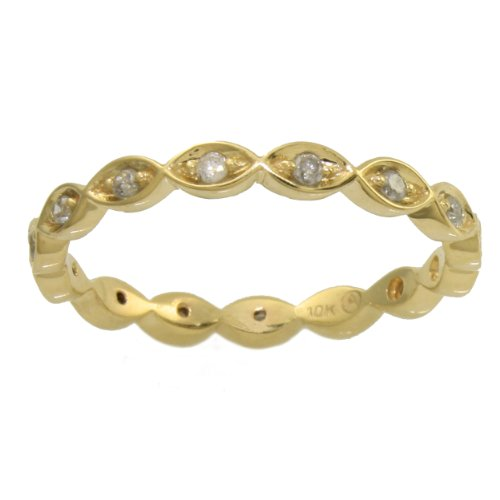 Ladies Ring 10K Yellow Gold 0.20 Carat Real Diamonds Brilliant Cut Eternity Anniversary Wedding Stackable Band (Color H-I, Clarity I2-I3)