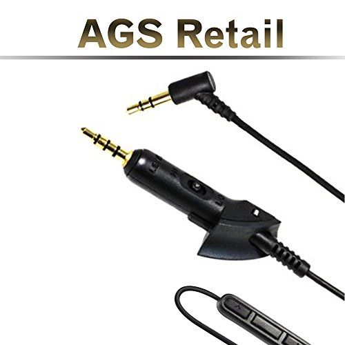REPLACEMENT AUDIO CABLE for Bose QuietComfort® 15 / QC15 / QC2 HEADPHONES w/ IN-LINE REMOTE & MICROPHONE accessory for iPhone & Android