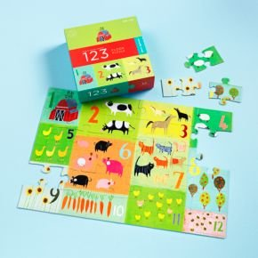 Cheap Land of Nod Kids Puzzles: Childrens Colorful Farm Puzzle, 123 Boxed Floor Puzzleassembled: 26 x 17.5″ (B003VZIQ2U)