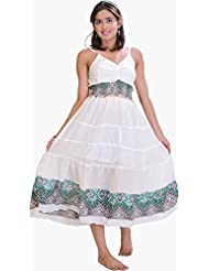 Exotic India Winter-White Barbie Dress With P - Bust 43.0 In.<br>Length 48.0 In.