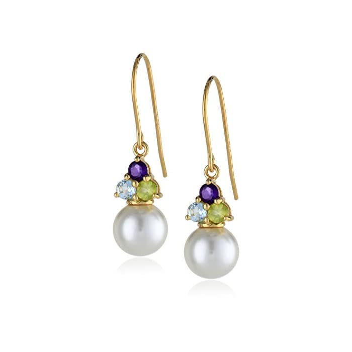 18k Gold-Plated Sterling Silver, Genuine White Shell Pearl, Blue Topaz, Peridot, and Amethyst Drop Earrings