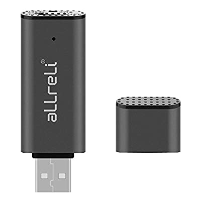 aLLreLi CP0341 2-in-1 8GB Mini USB Voice Recorder [Gray] - Portable Rechargeable Digital Spy Dictaphone & USB...