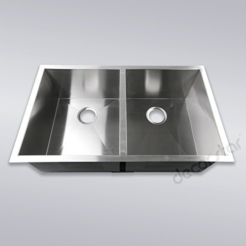 Decor Star H-002-Z 33 Inch x 20 Inch Undermount 50/50 Equal Double Bowl 16 Gauge Stainless Steel Luxury Handmade Kitchen Sink Zero Radius