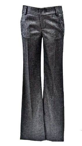 Alice + Olivia Black/Silver Wool Blend Pant