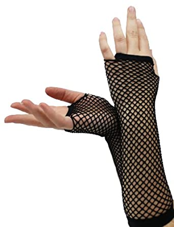 BLACK FISHNET GLOVES SLEEVES MID-LENGTH BURLESQUE SLEEVES PUNK FASHION ACCESSORY