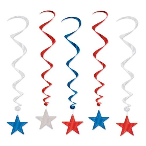Red,Silver and Blue Star Whirls/PATRIOTIC/MEMORIAL DAY/4th. OF JULY Hanging Decorations