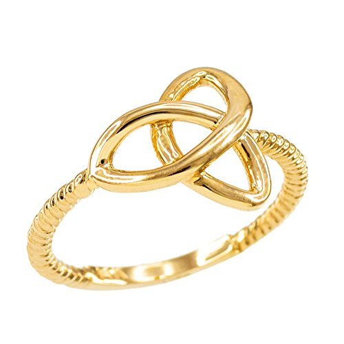 High-Polish-10k-Yellow-Gold-Twisted-Style-Rope-Band-Trinity-Knot-Ring