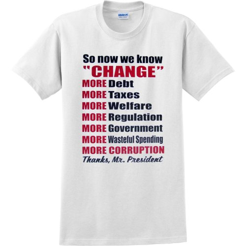 MENS T-SHIRT : SPORTS GREY - LARGE - So Now We Know Change - More Debt Taxes Welfare Regulation Government Corruption - ANTI OBAMA