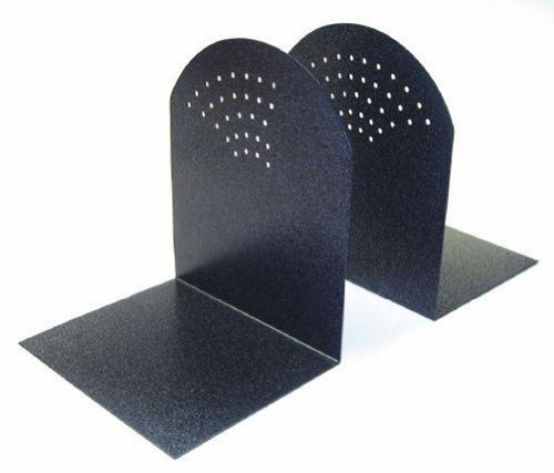 STEELMASTER Fan Hole Pattern Steel Bookends, 1 Pair, 5.94 x 7 x 5 Inches, Granite (295A3)