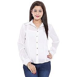 Belomoda Women Georgette Shirt (WHTGGTSHIRT_White_S)