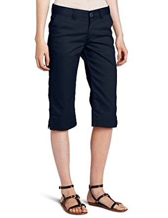 Dickies Juniors Stretch Flat Front Capri Pant, Dark Navy, 11