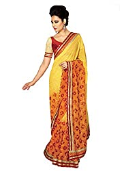 Suchi Fashion Yellow And Mustard Georgette Printed Party Wear Sarees