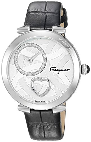 Salvatore-Ferragamo-Womens-Beating-Heart-Swiss-Quartz-Stainless-Steel-and-Leather-Casual-Watch-ColorBlack-Model-FE2020016