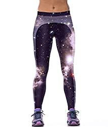 iSweven STARS 3D Design Printed Polyester Multicolor Yoga pant Tight legging for womens girls
