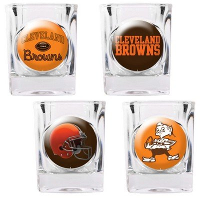 NFL Cleveland Browns Four Piece Square Shot Glass Set (Individual Logos)