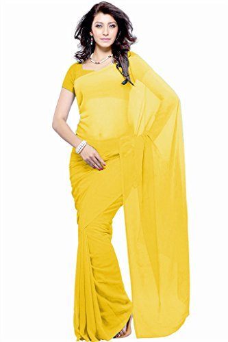 Khoobee Presents Plain Georgette Saree(Yellow)