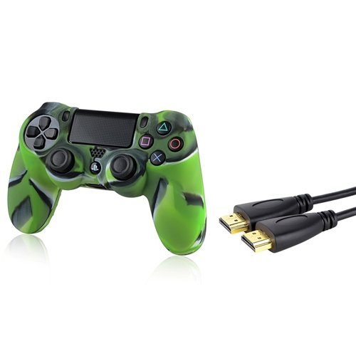 Everydaysource® Compatible With Sony PlayStation 4 (PS4) Controller Camouflage Navy Green Silicone Skin Case + 10FT/ 3M Black High Speed HDMI Cable M/M ivy queen for sony playstation 4 ps4 ps3 controller alu aluminium bullet aktions buttons tasten gun triangle circle square x