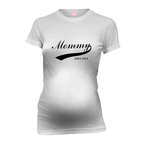 Mommy Since 2014 New Mom Funny Maternity T-Shirt Tee Shirt Top Baby Shower Gift White M front-882750