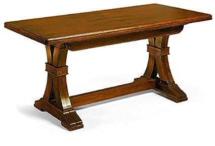 Tavolo con 4 allunghe da 45 cm, stile classico, in legno massello e mdf con rifinitura in noce lucido - Mis. 180 x 100 x 78