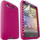 Gem Silicone Case Cover Skin And LCD Screen Protector For HTC Desire HD / Pink