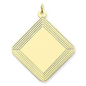 14k Etched Design Diamond .018 Gauge Engravable Disc Charm