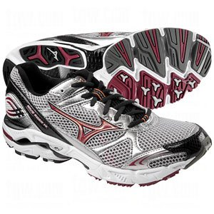 Mizuno Men's Wave Rider 14 Running Shoe,Silver/Biking Red-Anthracite,10 M US