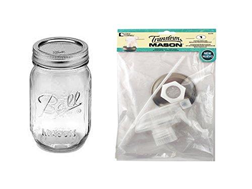 Mason Spray Bottle Lid with 16 oz Jar, Regular Mouth (clear)