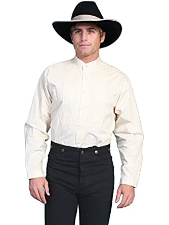 Victorian Men's Shirts- Wingtip, Gambler, Bib, Collarless Old West Gambler Shirt Big And Tall  AT vintagedancer.com