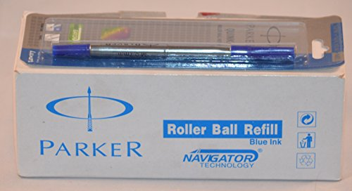 Parker Quink Recharge pour Roller Pointe moyenne encre bleue technologie Navigator (Lot de 10)