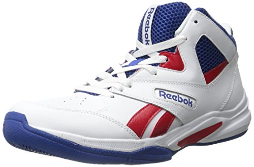 Reebok Men's Pro Heritage 2 Basketball Shoe, White/Scarlet/Team Dark Royal/Black, 11 M US