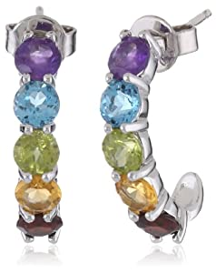 "Sterling Silver and Round-Cut Amethyst, Swiss Blue Topaz, Peridot, Garnet, and Citrine""J"" Hoop Earrings (2.50 cttw,)"