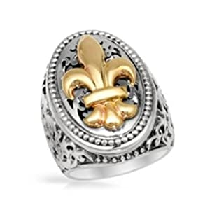 Italian 14k Yellow Gold and Sterling Silver, Antique Finished Fleur De Lis Design Ring, Size 7, Free Shipping