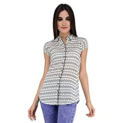Terquois Linen Printed Shirt with back hoisery(1409_White_XXL)