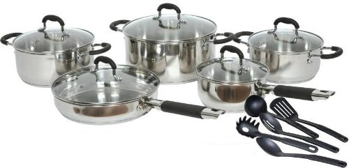 Gourmet Chef 15 Piece Stainless Steel Cookware Set.