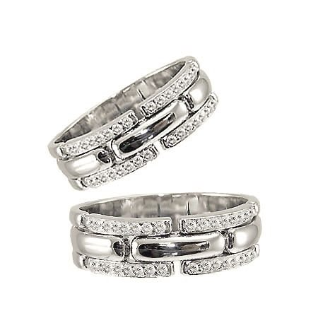 14k White Gold, Duo Two Piece Matching Bands Ring Set