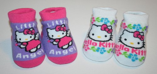 Hello Kitty Baby Infant Girl Baby Booties Socks - Box Contains 2 Pairs