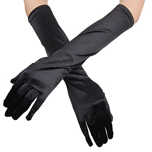 APAS Women Bridal Stretchy Solid Satin Elbow Length Gloves, Fancy Party Wedding Prom Finger Gloves Black