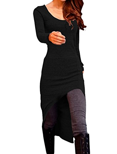 Lady Long Sleeves Stretchy Scoop Neck High-Low Hem Tunic Shirt Black S (Allegra Clothing For Women compare prices)